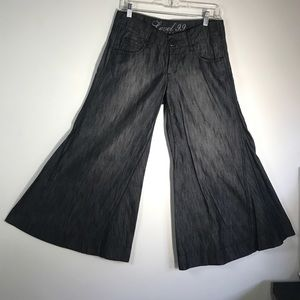 Anthropologie Level 99 Black Wash Wide Leg Pants